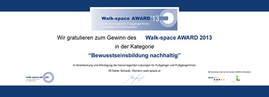Siegertafel Walk-space AWARD 2013